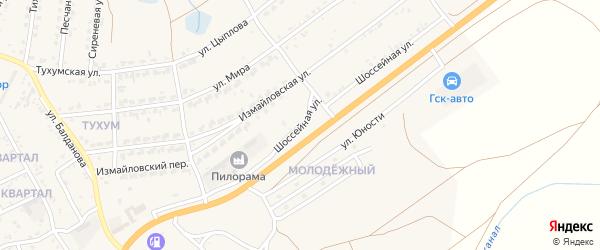 Шоссейная улица на карте поселка Тухума с номерами домов