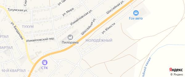 Улица Юности на карте Молодежного поселка с номерами домов