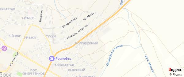 Карта Молодежного поселка города Гусиноозерска в Бурятии с улицами и номерами домов