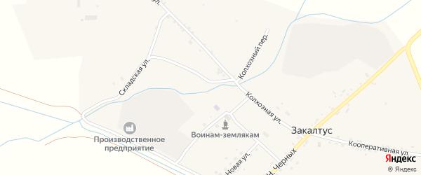 Колхозный переулок на карте села Закалтуса с номерами домов