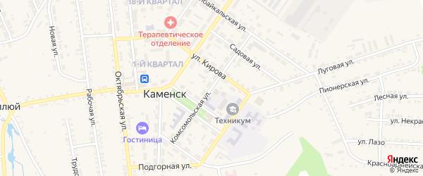 Комсомольская улица на карте поселка Каменска с номерами домов