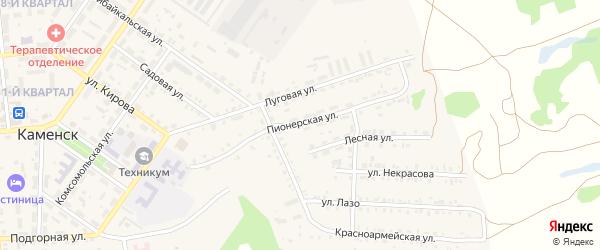 Пионерская улица на карте поселка Каменска с номерами домов
