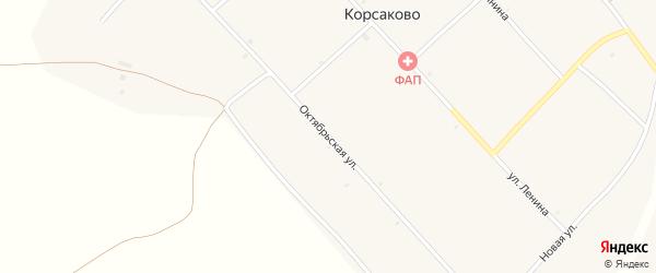 Октябрьская улица на карте села Корсаково с номерами домов
