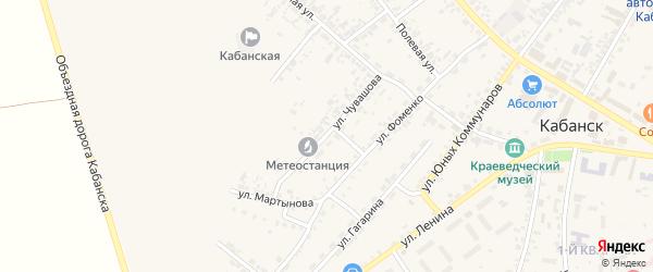 Улица Чувашова на карте села Кабанск с номерами домов