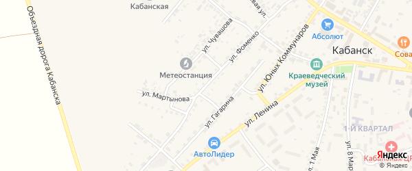 Улица Фоменко на карте села Кабанск с номерами домов