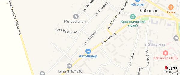 Улица Гагарина на карте села Кабанск с номерами домов