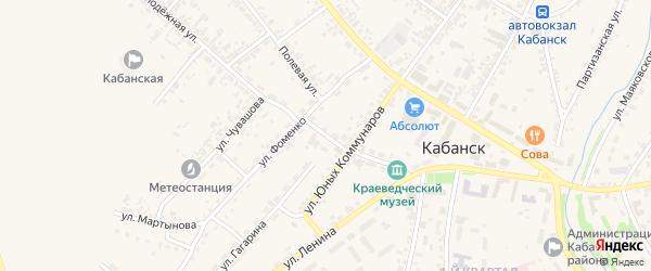 Переулок Фоменко на карте села Кабанск с номерами домов