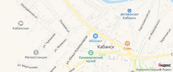 Улица Юных Коммунаров на карте села Кабанск с номерами домов