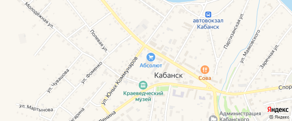 Красноармейский переулок на карте села Кабанск с номерами домов