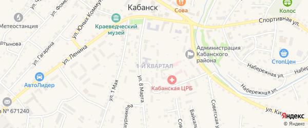 1-й квартал на карте села Кабанск с номерами домов