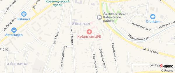 Больничный переулок на карте села Кабанск с номерами домов