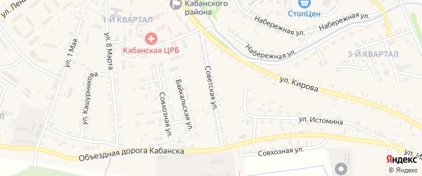 Советская улица на карте села Кабанск с номерами домов