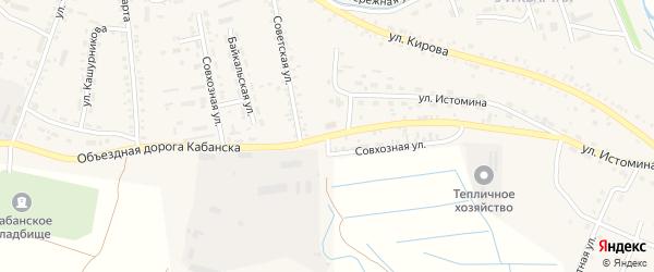 Совхозная улица на карте села Кабанск с номерами домов