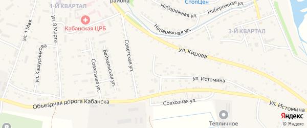 Переулок Истомина на карте села Кабанск с номерами домов