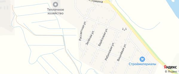 Зеленая улица на карте села Кабанск с номерами домов