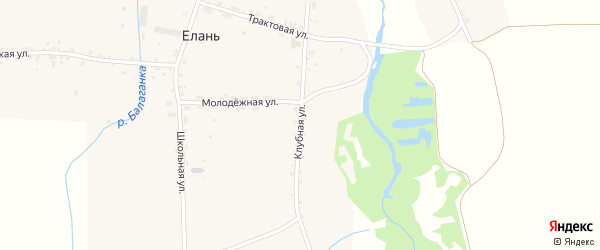 Клубная улица на карте села Елани с номерами домов