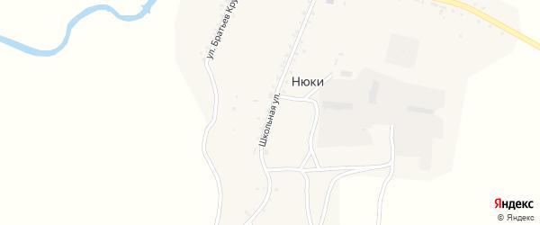 Школьная улица на карте села Нюков с номерами домов