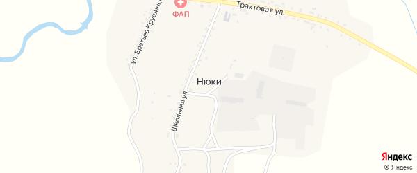 Школьный переулок на карте села Нюков с номерами домов