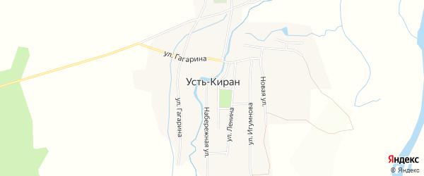 Карта села Усть-Кирана в Бурятии с улицами и номерами домов