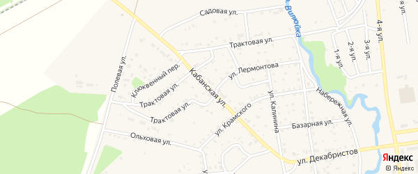 Кабанская улица на карте поселка Селенгинска с номерами домов