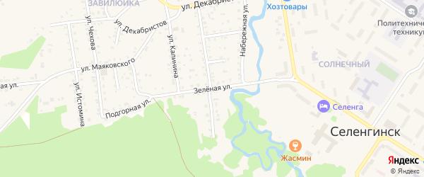 Зеленая улица на карте поселка Селенгинска с номерами домов