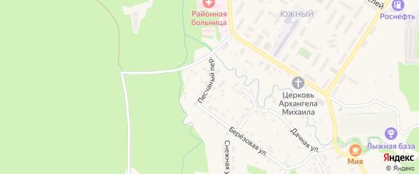 Песчаный переулок на карте поселка Селенгинска с номерами домов
