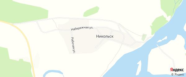 Карта села Никольска в Бурятии с улицами и номерами домов
