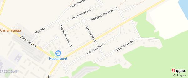 Парковая улица на карте поселка Селенгинска с номерами домов