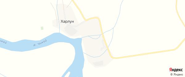 Карта поселка Харлуна в Бурятии с улицами и номерами домов