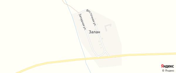Западная улица на карте улуса Залан с номерами домов