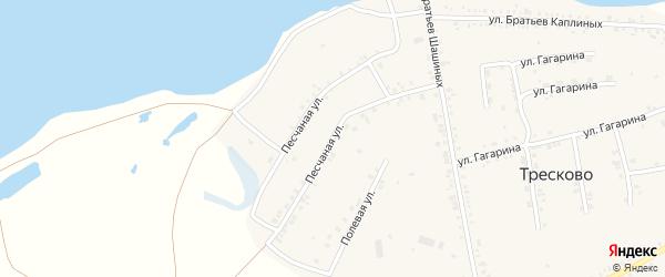 Песчаная улица на карте села Тресково с номерами домов