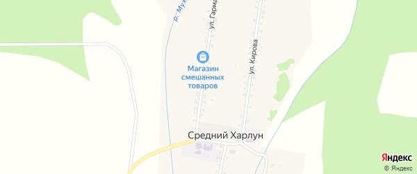Улица Гармаева на карте улуса Среднего Харлун с номерами домов