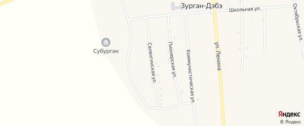 Селенгинская улица на карте улуса Зурган-Дэбэ с номерами домов