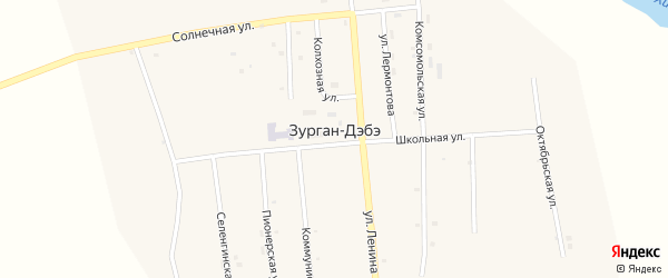Советская улица на карте улуса Зурган-Дэбэ с номерами домов