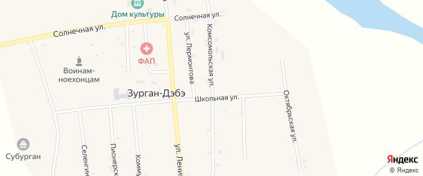 Комсомольская улица на карте улуса Зурган-Дэбэ с номерами домов