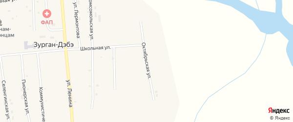 Октябрьская улица на карте улуса Зурган-Дэбэ с номерами домов