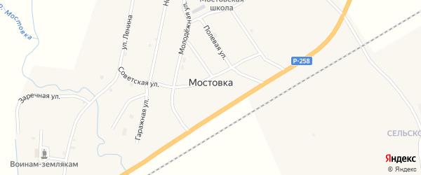 Зеленая улица на карте села Мостовки с номерами домов