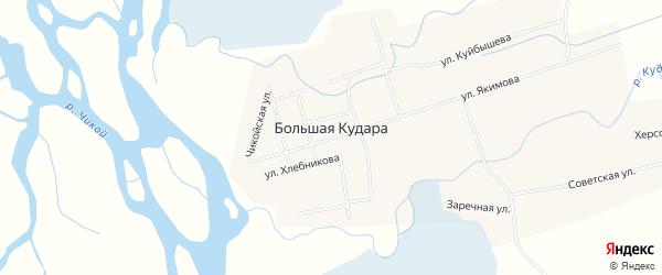 Карта села Большей Кудары в Бурятии с улицами и номерами домов