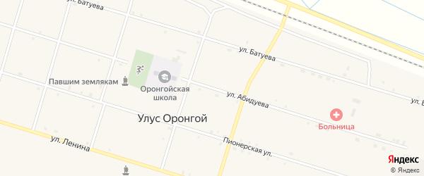 Улица Абидуева на карте Оронгой улуса с номерами домов