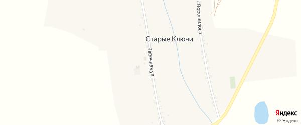 Заречная улица на карте села Старых Ключей с номерами домов