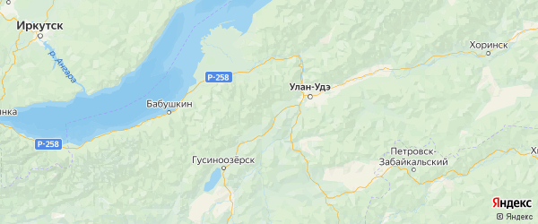 Карта Иволгинского района республики Бурятия с городами и населенными пунктами