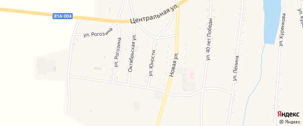 Улица Юности на карте села Окино-Ключи с номерами домов