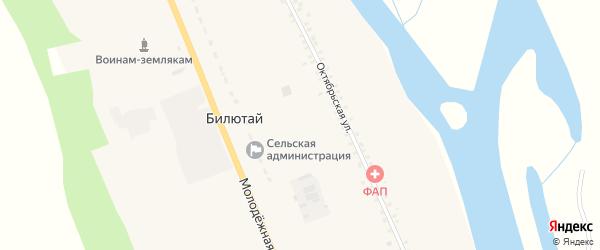 Октябрьская улица на карте села Билютая с номерами домов
