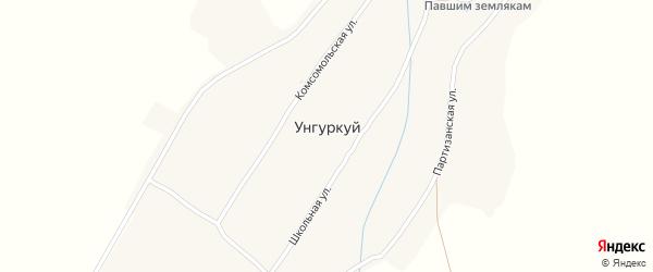 Комсомольская улица на карте села Унгуркуя с номерами домов
