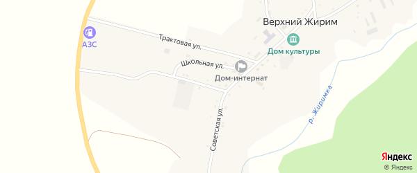 Школьная улица на карте села Верхнего Жирима с номерами домов
