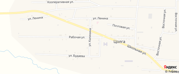 Улица Калинина на карте улуса Цолга с номерами домов
