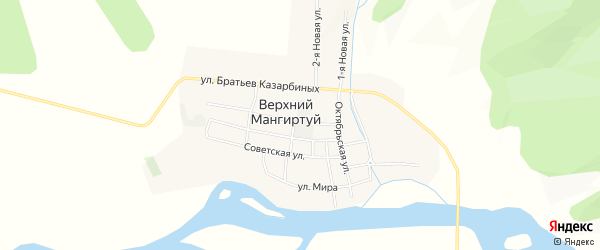 Карта села Верхнего Мангиртуя в Бурятии с улицами и номерами домов