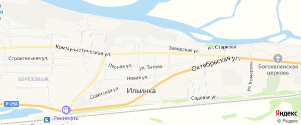 Березовый микрорайон на карте села Ильинки с номерами домов