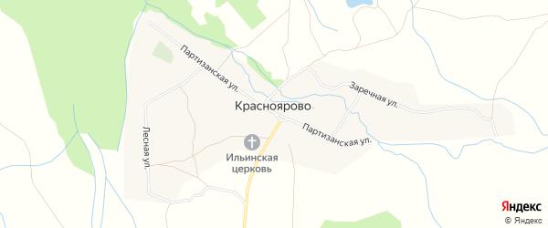 Территория КСП Красноярово на карте села Красноярово с номерами домов