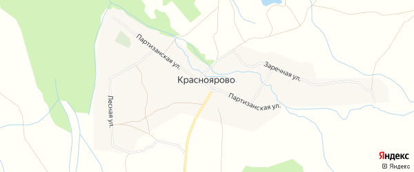 Карта села Красноярово в Бурятии с улицами и номерами домов